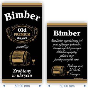 ETYKIETY NAKLEJKI NA WÓDKĘ BIMBER ,,ZROBIONY W UKRYCIU''