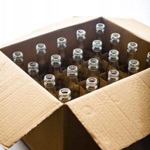 ZESTAW 20 SZTUK Butelka monopolowa bezbarwna 500 ML + zakrętka + KARTON Z KRATOWNICĄ